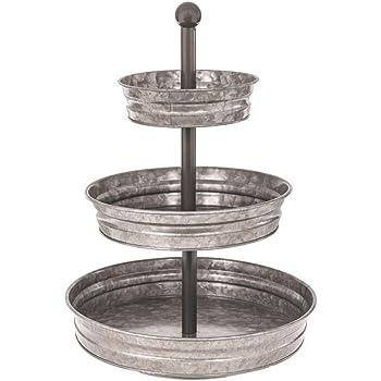 1 x 3 Tier Galvanized Round Metal Stand Outdoor Indoor Serveware