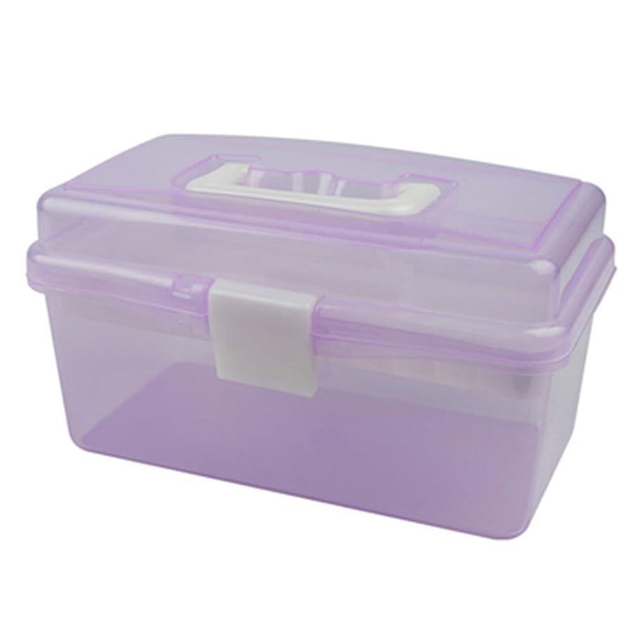 例外数字生産性(デマ―クト)De.Marktメイクボックス ペンケース ツールボックス 子供用 ペン入れ 小物収納 プラスチック シンプル クリア 2層 便利小物整理 メイク用品 小物入れ マニキュア ペンボックス