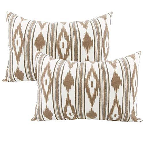 TRESMESTRES Fundas de Cojines 60x40 - Decoración Ikat - Decorativos para Sofá, Almohadas/Almohadones para Cama - Diseño Mediterráneo - Funda Cojín 40x60 cm, 2 Pack, Marrones
