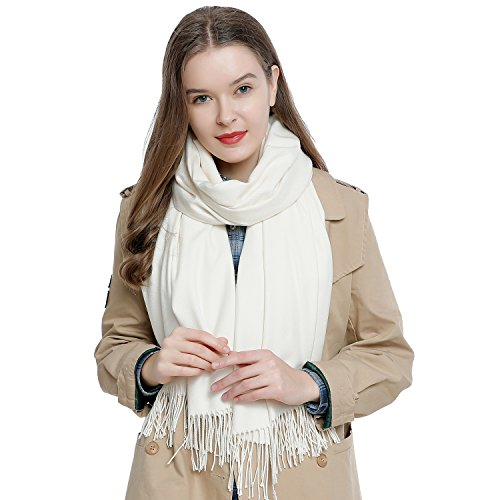 DonDon Damen Schal einfarbig weich 185 x 65 cm creme-weiß