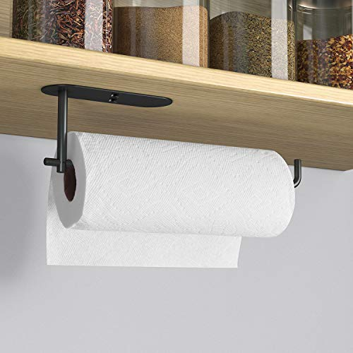 VAEHOLD Paper Towel Holder Under Cabinet Mount for Kitchen Paper Towel, Adhesive Black Paper Towel Roll Rack Stick on Wall for Bathroom Towel, SUS304 Stainless Steel