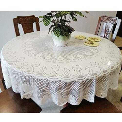 Runde Tischdecken Weiße Spitzentischdecke Rund For Runden Heimtextilien Tischdecken Aus Häkelspitze For Die Hochzeitsdekoration In Der Küche, Ideal For 4-6 Gedecke ( Color : Diameter 130cm )