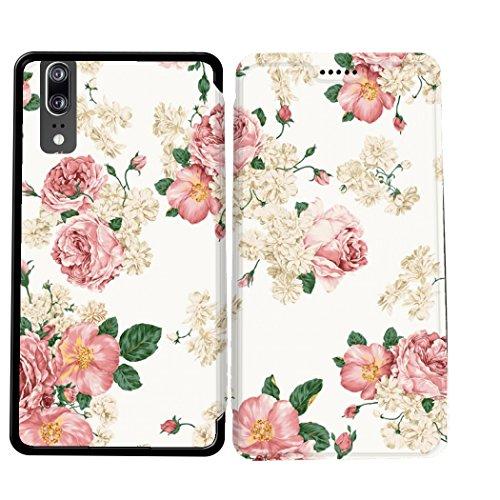 Case-Industry Mobilefashion Custodia Protettiva Case Cover per Huawei P20 - Esterno modello Romantique Flower Collection Pattern Cuoio PU