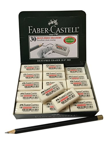 Faber-Castell Excellent Dust Free Extra Soft Clean White Pencil Eraser Bulk Pack Suitable For Drawing Art Office & School Use [Box of 30] (4 x 1.9 x 1.2cm)