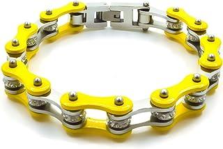 Bracciale catena moto in acciaio inossidabile colore giallo firmato Desja con shopper e custodia in omaggio bracciale uomo...
