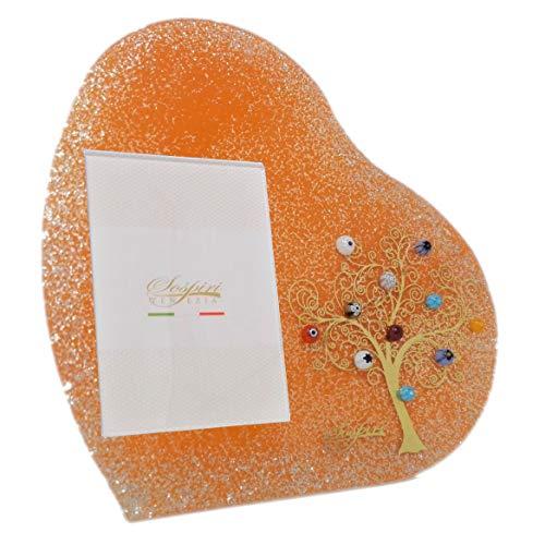 SOSPIRI VENEZIA Marco de fotos con forma de corazón de mesa,árbol de la vida,de cristal con murales de Murano y oro de cerezo,hecho a mano por venecianos,tamaño de la foto 7x10cm,color Naranja,17 cm