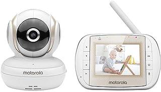 Motorola Baby MBP30A videomonitor med 7,6 cm (3 tum) handhållen enhet och fjärrkontroll skanning. Med brittisk kontakt