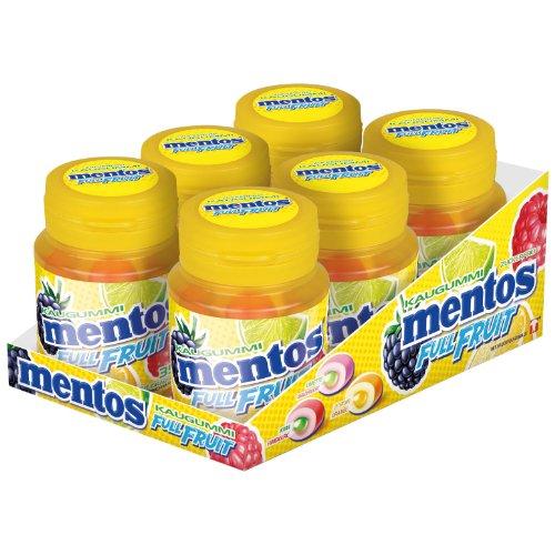 Mentos Gum Full Fruit, 3 Sorten Fruchtgeschmack, Zuckerfrei, 6 Dosen à 35 Kaugummis