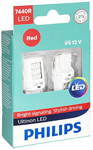 Philips 7440 Ultinon LED Bulb (Red), 2 Pack