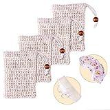 MICGEEK 4 Stück Seifensäckchen Sisal, Seifensäckchen Bio Hydrophil Seifennetz Seifenbeutel...