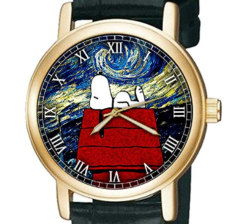 Art Existential Snoopy Peanuts Vincent Van Gogh Belle Armbanduhr, Messing, 30 mm