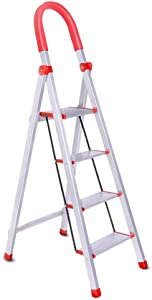 Step Stool Aluminum Alloy Household Ladder Three Four Step Ladder Folding Escalator Stairs Multi-function Indoor Ladder  Three Heights Optional  Size Four steps