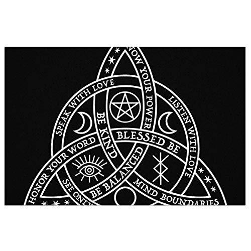 antkondnm Good Witch Celtic Knot Welcome Outdoor Door Mat, Indoor Entrance Non-Slip Doormats, Outside Patio PVC Rug Pad (15'x23')