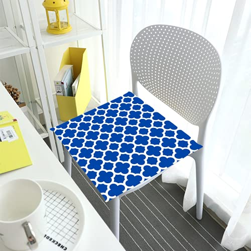 Comfortable Chair Cushions Seat Pads For Dining Chairs Pad Cobalt Blue Quatrefoil Trellis Square Removable Cover Indoor Outdoor Living Room Patio Garden Office Coffee Shop