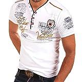 PPangUDing T-Shirts Herren Sommer Mode Kurzarm V-Ausschnitt Stickerei Mit Button Down Regular Fit...