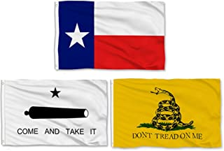 Aisto 3 Pieces 3x5 Feet Texas State Flag - Come and Take It Flag - Gadsden Don't Tread On Me Flag - Made by 100% Polyester – Vivid Color and UV Fade Resident
