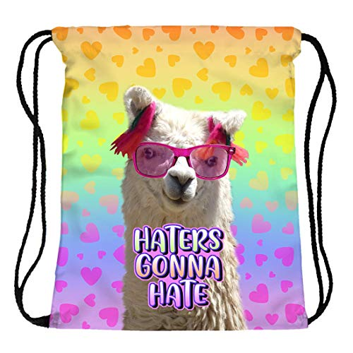 Hanessa Jute zak - Rainbow Lama-foto met spreuk - met grappige spreuk opdruk sporttas grappige spreuken zak rugzak zak tas gym bag hipster mode sporttas boodschappentas RU-376