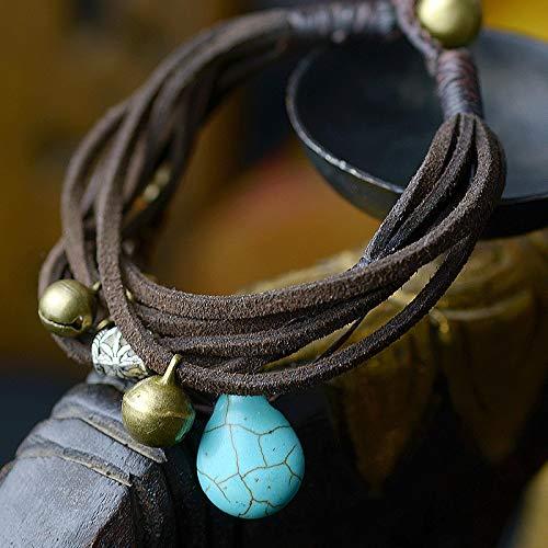 CLEARNICE Wrap Charm Femme Pulsera de Cuero Brazalete para Mujer étnico Azul Turquía Piedra Gota Hecha a Mano joyería Vintage de Moda