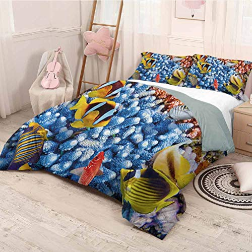 HELLOLEON Wide Tap 3-Pack (1 Duvet Cover and 2 Pillowcases) Bedding Aquatic Caribbean Underwater Sea Scene with Tropical Fishes and Coral Reef Depth Print Polyester (Full) Multi