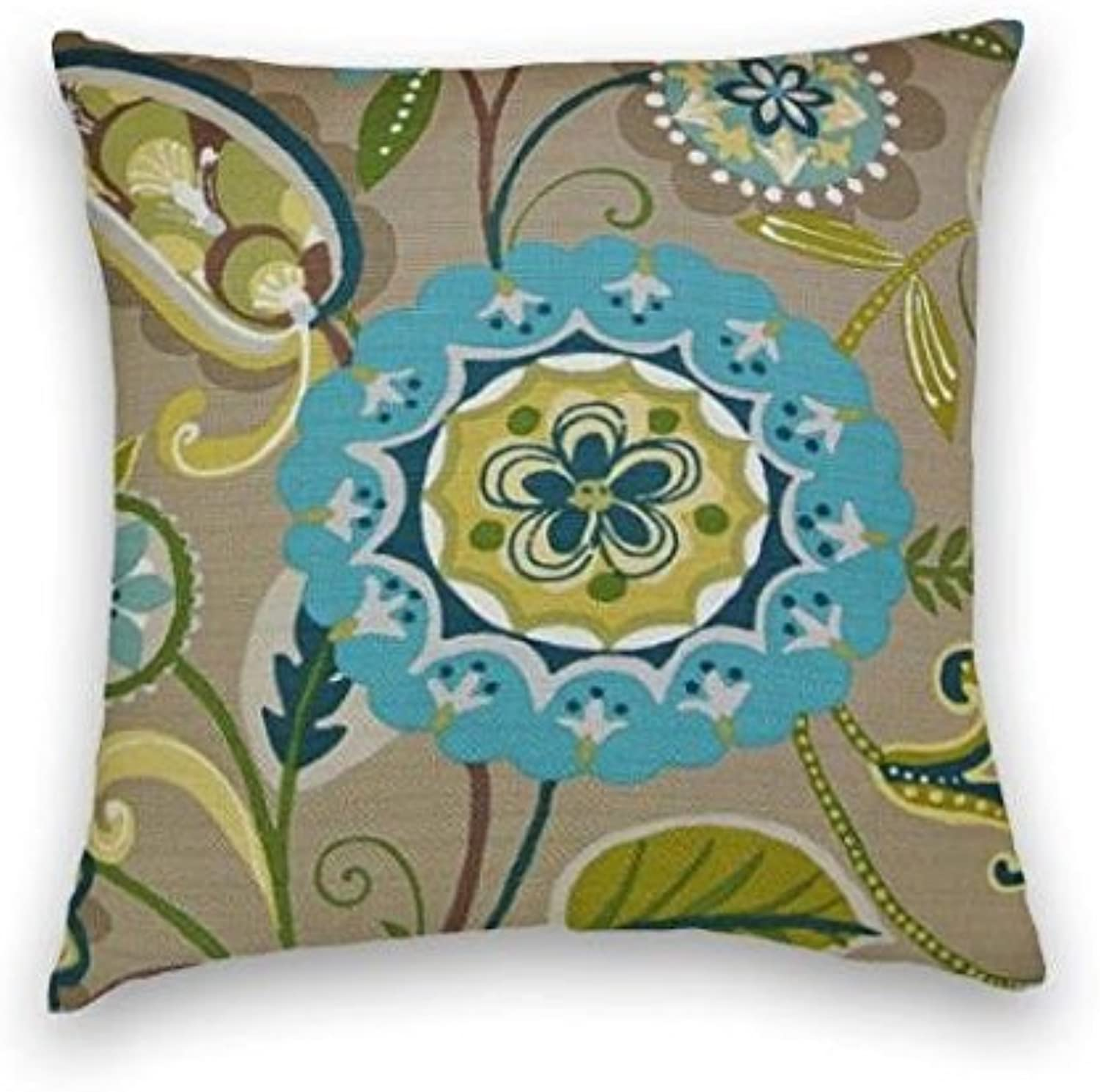 Green blueee Brown Cotton Floral Decorative Throw Pillow Cover
