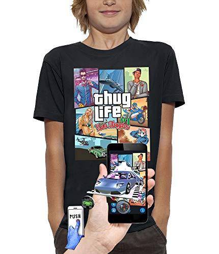 PIXEL EVOLUTION Camiseta 3D Thug Life LOS Angeles en Realidad Aumentada Niño - tamaño 9/11 años - Negro