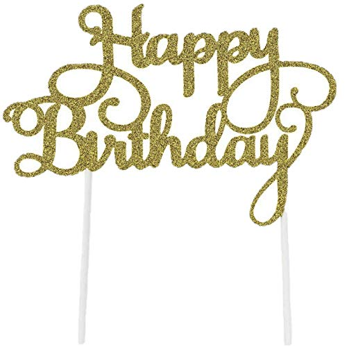 8 Pack Happy Birthday Cake Topper First Birthday Cupcake Topper, Glitter Gold Decoration