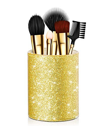 Onlyesh Pen Holder, Pencil Cup Desk Glitter Bling for Women Girls, Luxury Makeup Brush Holder Large Pu Leather Multi-Functional Organizer Cup, Gift for Office, Classroom, Home (Gold)