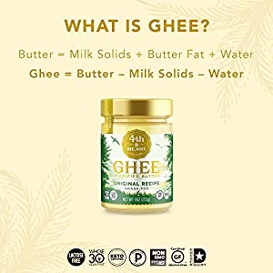 Original Grass-Fed Ghee by 4th & Heart, 16 Ounce, Keto, Pasture Raised, Non-GMO, Lactose Free, Certified Paleo #1