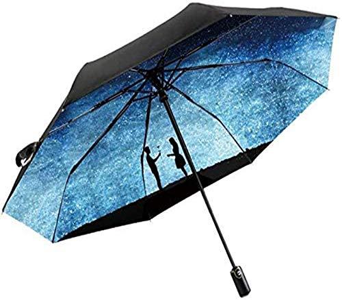 MJMJ sombrilla Paraguas Automático Parasol Estrella Creativa Protector Solar UV Plegable Portátil Pareja Romántica Paraguas Multi-Diseño Opcional Paraguas Soleado(Size:B)