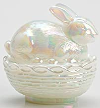 Glass Easter Bunny Rabbit on Covered Dish Mosser Glass (Milk Carnival)
