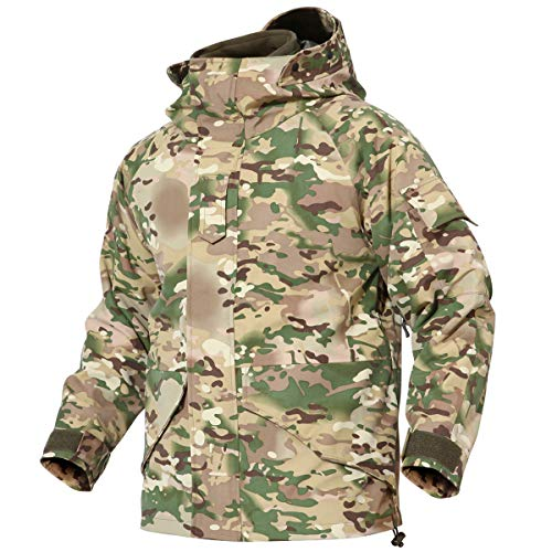 ReFire Gear Army Combat Camouflage Tactical Jacket for Men Multi-Pockets Cargo Military Uniform Outerwear Coat