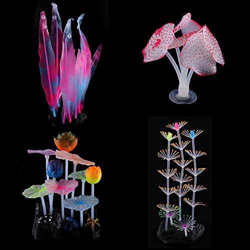 ARTSOTRE Aquarium-Dekoration, künstliche Wasserpflanzen, Simulation leuchtender Pilz, Koralle, Seegras-Pflanze, Silikon-Ornamente für Haushalt und Büro (4 Stück)