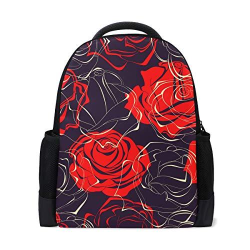 Mochila escolar, rosa roja, colegio, hombros de la escuela, libros, mochila para niños, niñas