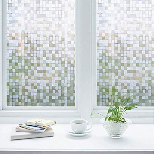 Zindoo Fensterfolie Mosaic Blickdicht Sichtschutzfolie Ohne Kleber Gute Privatsphäre Schutz für Badezimmer, Duschkabine Sowie Türen, Umkleide und Konferenzräume 60 x 200 cm
