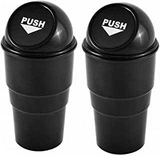 AISIBO Automotive Cup Holder Garbage Can Trash Bin Small Mini Car Trash Garbage Can for Car Office Home (Black-2pcs)