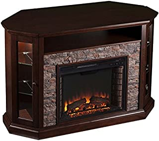 Pemberly Row Corner LED Fireplace TV Stand in Espresso
