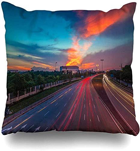 BONRI Throw Pillow Cover Travel Blue Malaysia Light Trail Sunset Selangor Has Cars Naturaleza Asean Asia Busy Design Resolution Funda de cojín para el hogar Cuadrado 16×16pulgada