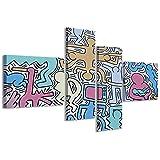 Stampe su Tela, keith haring vol. I Quadri Moderni in 4 pannelli già intelaiati, canvas, Multicolore, 160x70cm