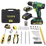 Taladro Atornillador 18V, TECCPO 45Pcs Caja de Herramientas, 2 Baterías de Litio 1500mAh, 2...