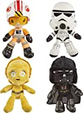 Star Wars Hoth Battle Plush 4-Pack, 8-in Character Soft Dolls, Luke Skywalker, Darth Vader, C-3PO & Stormtrooper, Collectible Movie Gift for Fans Ages 3 Years & Older