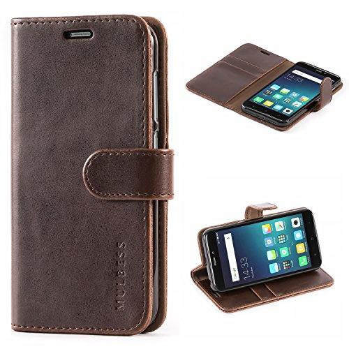 Mulbess Handyhülle für Xiaomi Redmi 4X Hülle Leder, Xiaomi Redmi 4X Handytasche, Vintage Flip Schutzhülle für Xiaomi Redmi 4X Hülle, Kaffee Braun