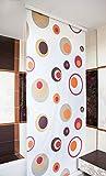 KSHANDEL24 MAßANFERTIGUNG HALB-Kassetten DUSCHROLLO Modell Colorful Retro Punkte ROT BRAUN GELB! DUSCHVORHANG LÄNGE UND BREITE NACH Wunsch! (bis 100 cm, bis 240 cm)