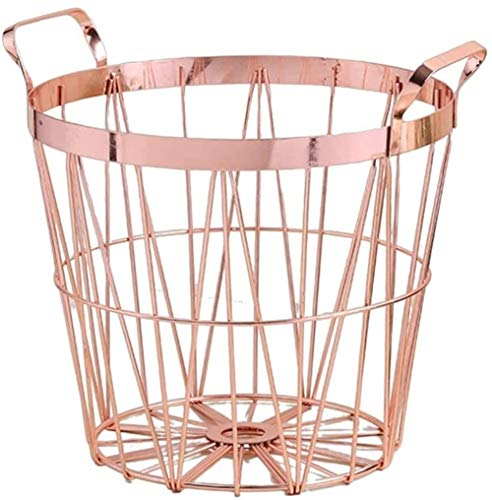 Storage Baskets Hamper Basket Durable Portable Metal with Handle Stylish Look for Bedroom Bathrooms Dirty Clothes Towels