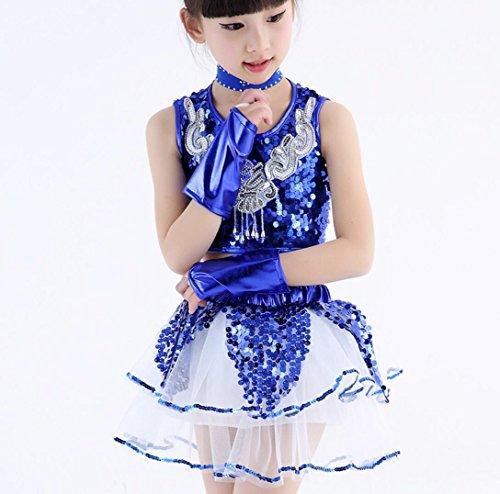 Desgaste de la Danza del Jazz para niños Hombres y Mujeres Traje de Teatro de Lentejuelas Jazz Dance Costume Blue/Yellow