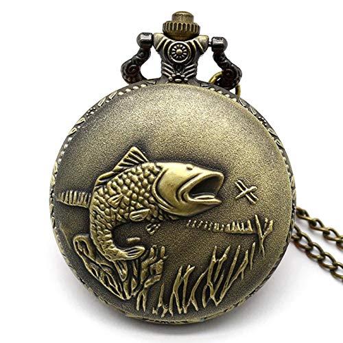 ZMKW Relojes de Bolsillo Vintage, Reloj de Pesca con Peces para Hombre, Mujer, Reloj de Enfermera, Regalos de cumpleaños, predeterminado