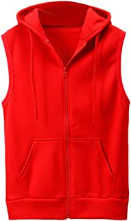 Clearance Men's Hoodie Jackets Sleeveless Slim Fit Waistcoat Solid Color Athletic Sports Tops