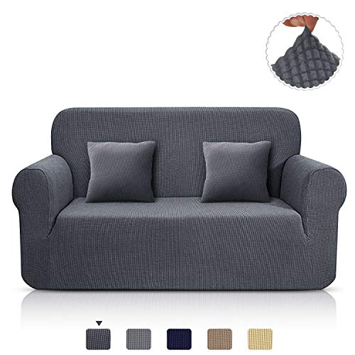 TAOCOCO Sofa Überwürfe Jacquard Sofabezug Elastische Stretch Spandex Couchbezug Sofahusse Sofa Abdeckung in Verschiedene Größe und Farbe (Grau, 2-sitzer(139-175cm))