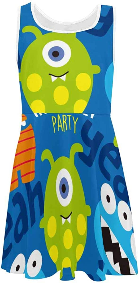 INTERESTPRINT Girls Casual Sleeveless Dress Kids Printed Dress Leaves and Branches Colorful Pattern (2T-XL)