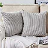 Bedwin Throw Pillow Covers 2 Sets Decorative Grey Pillow Covers 18x18 Inch, Soft Corduroy Pillow Covers Cushion Covers, Home Décor for Couch (Light Gray)