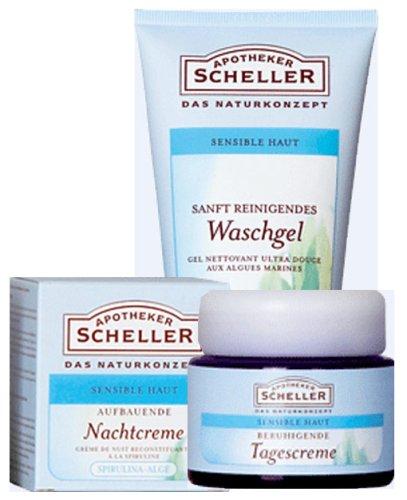 Apotheker Scheller Naturkosmetik Spezial Set, Sensible Haut: Waschgel Seealge, Tagescreme Grüner...
